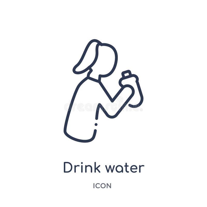 Lineair drink waterpictogram van de inzameling van het Voedseloverzicht De dunne lijn drinkt waterpictogram dat op witte achtergr vector illustratie