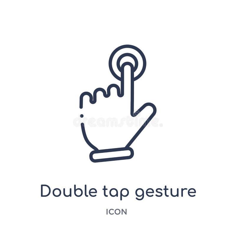 Lineair dubbel tikbewegingpictogram van Handen en guesturesoverzichtsinzameling Het dunne pictogram van de lijn dubbele die tikbe royalty-vrije illustratie