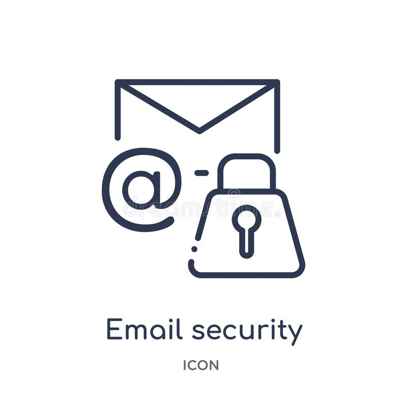 Lineair e-mailveiligheidspictogram van Internet-veiligheid en de inzameling van het voorzien van een netwerkoverzicht Het dunne g stock illustratie