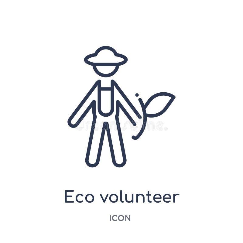 Lineair eco vrijwilligerspictogram van de inzameling van het Ecologieoverzicht De dunne vrijwilligersdievector van lijneco op wit stock illustratie