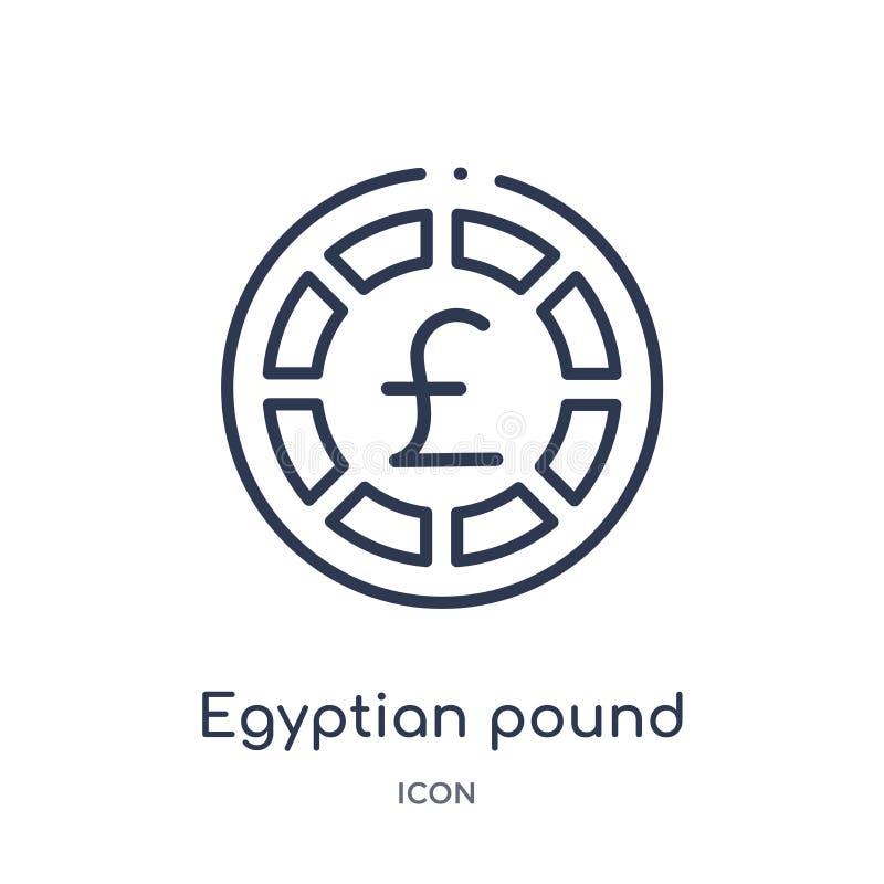 Lineair Egyptisch pondpictogram van het overzichtsinzameling van Afrika De dunne vector van het lijn Egyptische pond die op witte stock illustratie