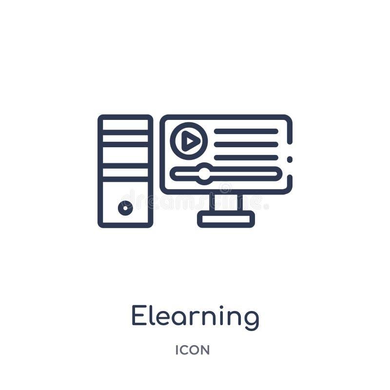 Lineair elearning pictogram van het overzichtsinzameling van Elearning en van het onderwijs Dunne lijn elearning die vector op wi royalty-vrije illustratie