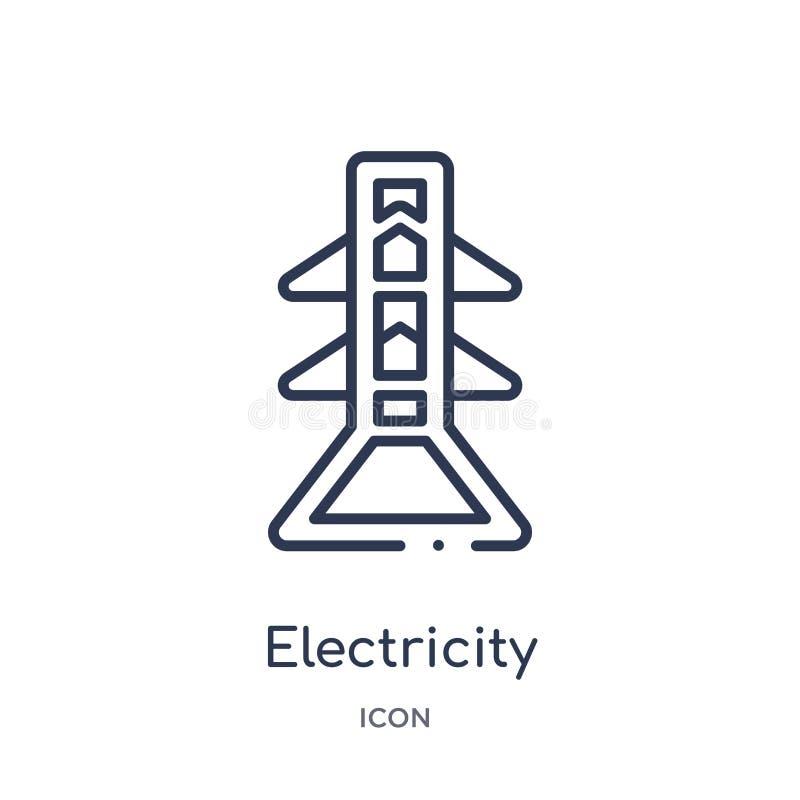 Lineair elektriciteitspictogram van Electrian-de inzameling van het verbindingenoverzicht De dunne die vector van de lijnelektric stock illustratie