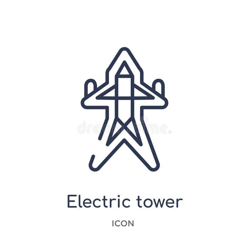 Lineair elektrisch torenpictogram van het overzichtsinzameling van Bouwhulpmiddelen De dunne vector van de lijn elektrische die t royalty-vrije illustratie
