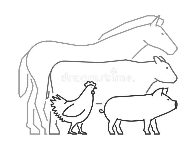 Lineair embleem voor landbouwersmarkt De dieren van het overzichtslandbouwbedrijf stock illustratie