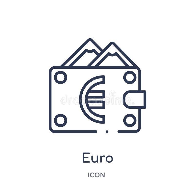 Lineair euro pictogram van Elektronische handel en de inzameling van het betalingsoverzicht Dunne lijn euro die vector op witte a stock illustratie
