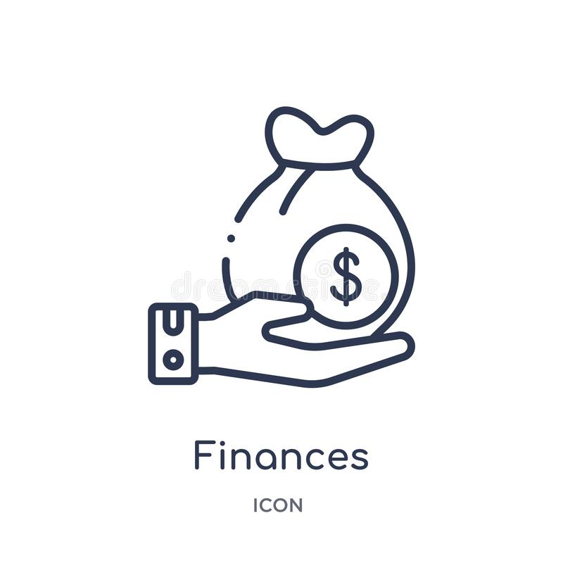 Lineair financiënpictogram van de inzameling van het Verzekeringsoverzicht De dunne die lijn financiert pictogram op witte achter royalty-vrije illustratie