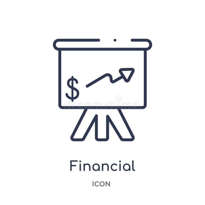 Lineair financieel presentatiepictogram van Elektronische handel en de inzameling van het betalingsoverzicht De dunne geïsoleerde vector illustratie