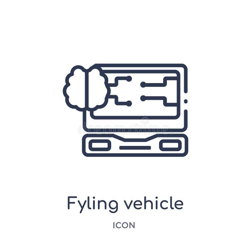 Lineair fyling voertuigpictogram van Kunstmatige intellegence en de toekomstige inzameling van het technologieoverzicht De dunne  royalty-vrije illustratie