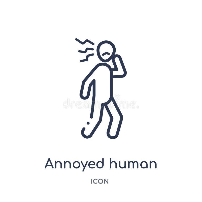 Lineair geërgerd menselijk pictogram van de inzameling van het Gevoelsoverzicht De dunne lijn ergerde menselijke die vector op wi stock illustratie