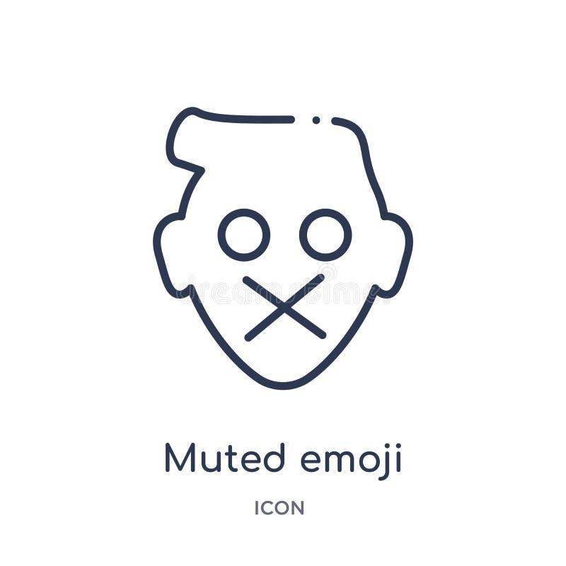 Lineair gedempt emojipictogram van Emoji-overzichtsinzameling De dunne die lijn dempte emojivector op witte achtergrond wordt geï vector illustratie