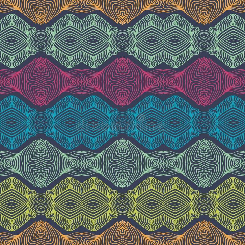 Lineair gedetailleerd etnisch patroon met heldere strepen stock illustratie