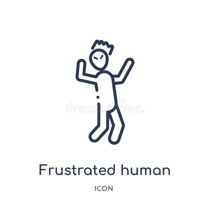 Lineair gefrustreerd menselijk pictogram van de inzameling van het Gevoelsoverzicht De dunne lijn frustreerde menselijke die vect royalty-vrije illustratie