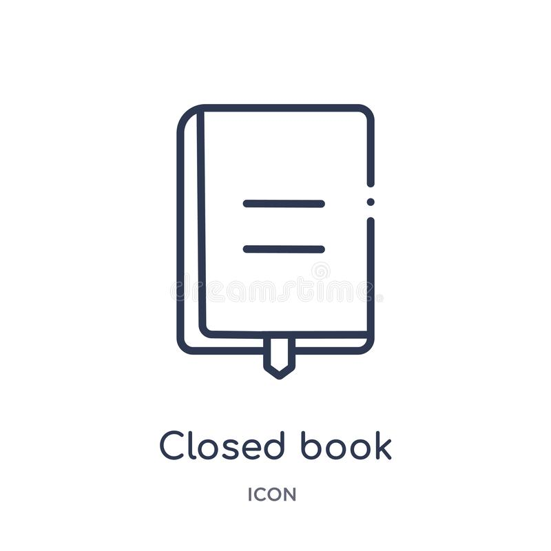 Lineair gesloten boek met tellerspictogram van de inzameling van het Onderwijsoverzicht De dunne die lijn sloot boek met tellersp stock illustratie