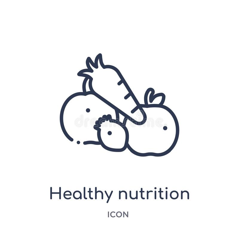 Lineair gezond voedingspictogram van de inzameling van het Voedseloverzicht Het dunne pictogram van de lijn gezonde die voeding o stock illustratie