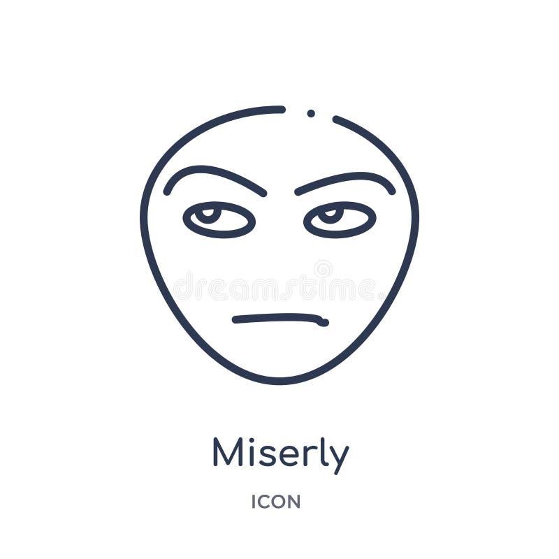 Lineair gierig pictogram van de inzameling van het Emotiesoverzicht Dunne lijn gierige die vector op witte achtergrond wordt geïs stock illustratie