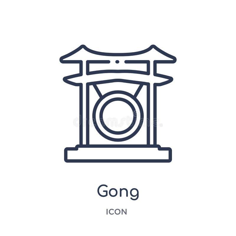 Lineair gongpictogram van Aziatische overzichtsinzameling De dunne die vector van de lijngong op witte achtergrond wordt geïsolee vector illustratie