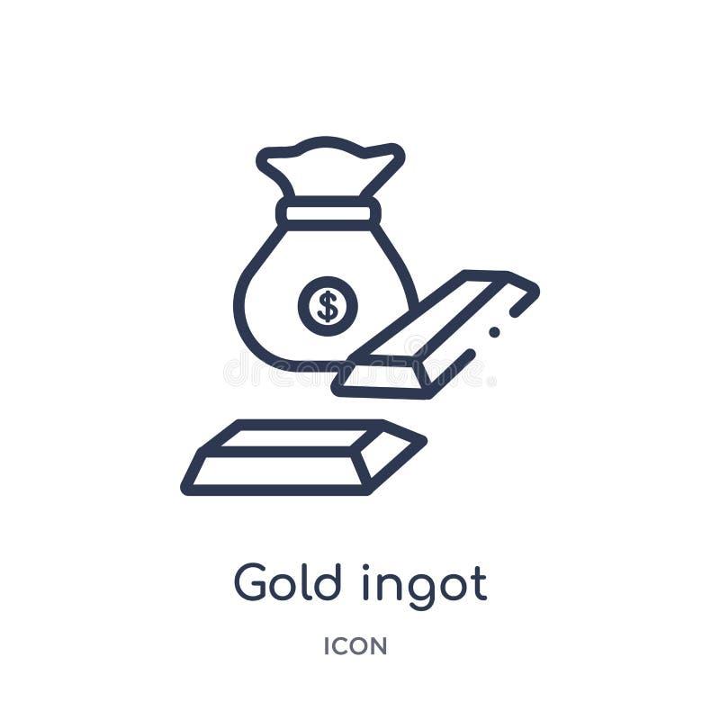 Lineair gouden baarpictogram van de Digitale inzameling van het economieoverzicht De dunne vector van de lijn gouden die baar op  stock illustratie