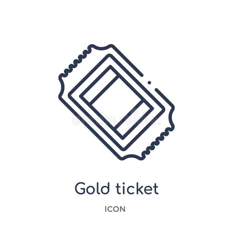 Lineair gouden kaartjespictogram van de inzameling van het Vermaakoverzicht Het dunne pictogram van het lijn gouden die kaartje o vector illustratie