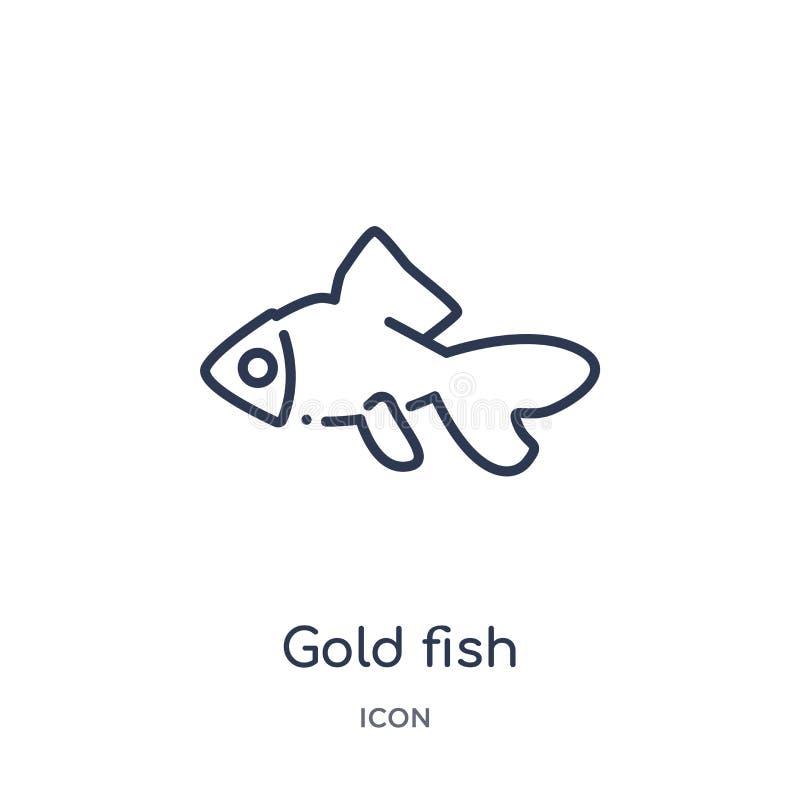 Lineair gouden vissenpictogram van de inzameling van het Dierenoverzicht Het dunne pictogram van lijn gouden die vissen op witte  stock illustratie