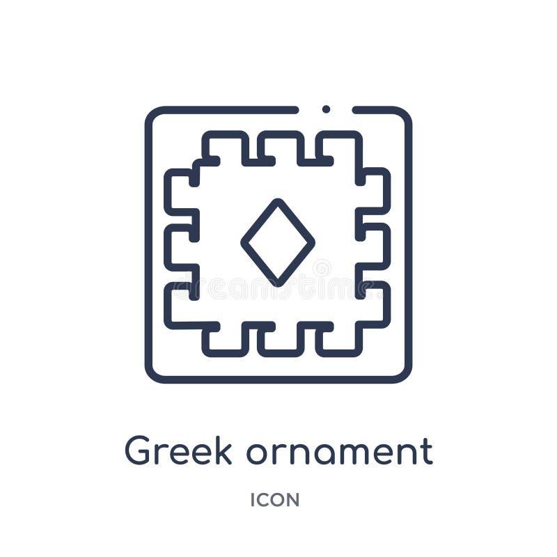 Lineair Grieks ornamentpictogram van het overzichtsinzameling van Griekenland Het dunne pictogram van het lijn Griekse die orname stock illustratie