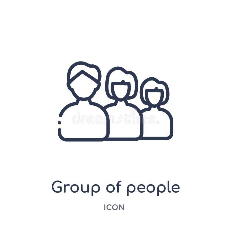Lineair groeps mensen pictogram van de inzameling van het Onderwijsoverzicht De dunne die vector van de lijngroep mensen op witte stock illustratie