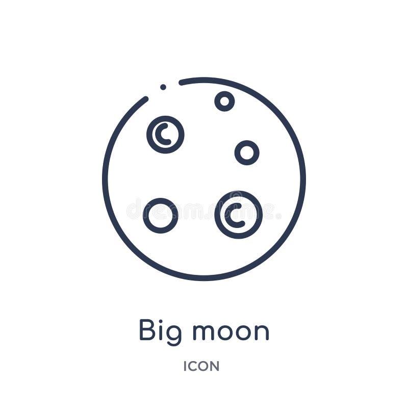 Lineair groot maanpictogram van de inzameling van het Astronomieoverzicht De dunne vector van de lijn grote die maan op witte ach vector illustratie