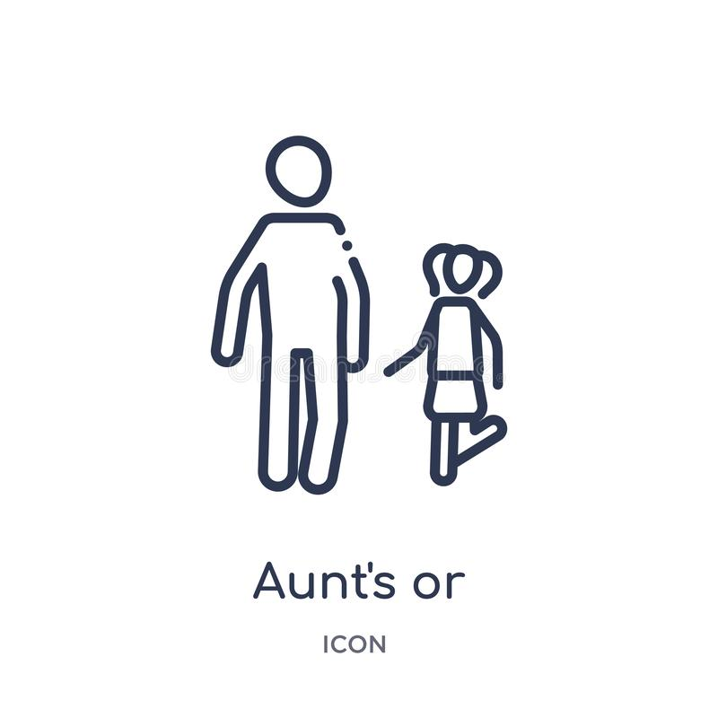 Lineair het kindpictogram van de tante of van de oom van de inzameling van het gezinsverhoudingenoverzicht De dunne het kindvecto stock illustratie
