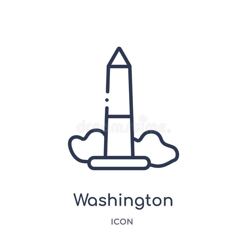 Lineair het monumentenpictogram van Washington van de inzameling van het Gebouwenoverzicht Dunne die het monumentenvector van lij vector illustratie
