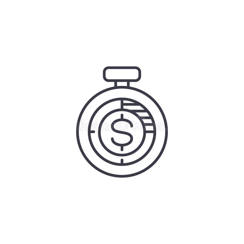 Lineair het pictogramconcept van de inkomensmeting De lijn vectorteken van de inkomensmeting, symbool, illustratie royalty-vrije illustratie