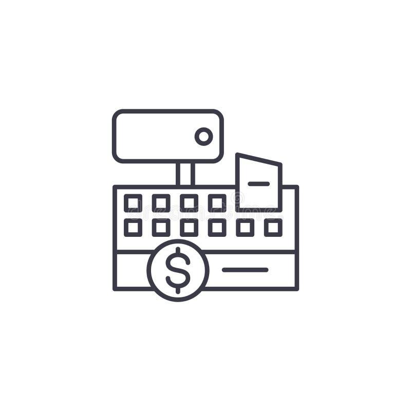 Lineair het pictogramconcept van de kasregistermachine De lijn vectorteken van de kasregistermachine, symbool, illustratie vector illustratie