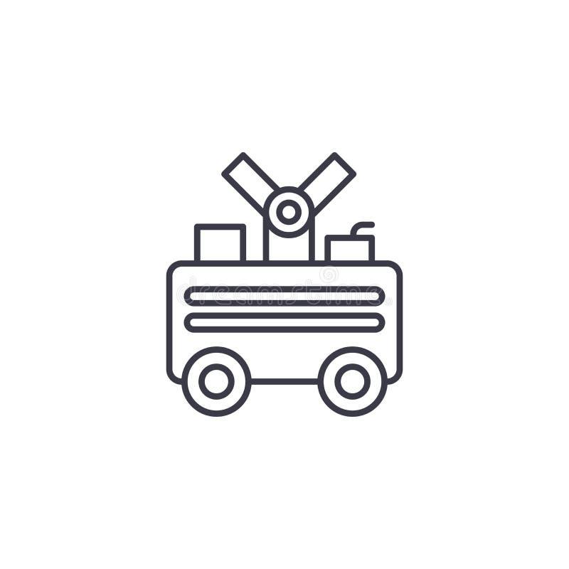 Lineair het pictogramconcept van de lassenmachine De lijn vectorteken van de lassenmachine, symbool, illustratie royalty-vrije illustratie