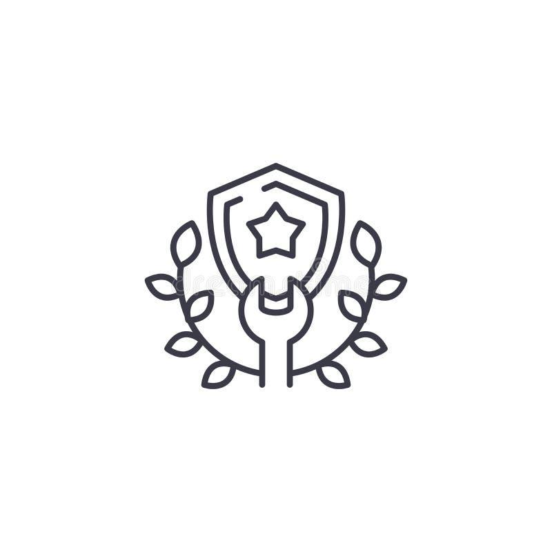 Lineair het pictogramconcept van de schildkroon De lijn vectorteken van de schildkroon, symbool, illustratie royalty-vrije illustratie