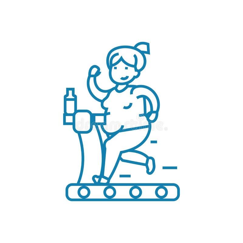Lineair het pictogramconcept van het gewichtsverlies De lijn vectorteken van het gewichtsverlies, symbool, illustratie stock illustratie