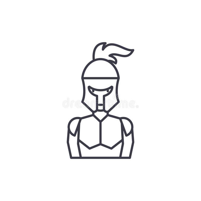 Lineair het pictogramconcept van het ridder` s pantser De lijn vectorteken van het ridder` s pantser, symbool, illustratie royalty-vrije illustratie