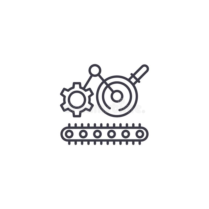 Lineair het pictogramconcept van het techniekproces De lijn vectorteken van het techniekproces, symbool, illustratie royalty-vrije illustratie
