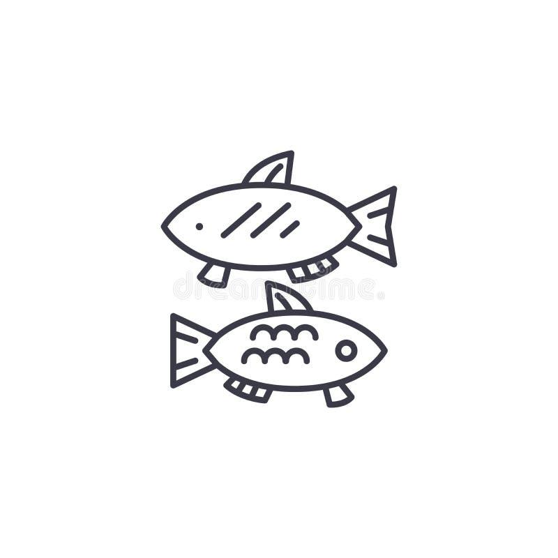 Lineair het pictogramconcept van het vissenvoedsel De lijn vectorteken van het vissenvoedsel, symbool, illustratie royalty-vrije illustratie
