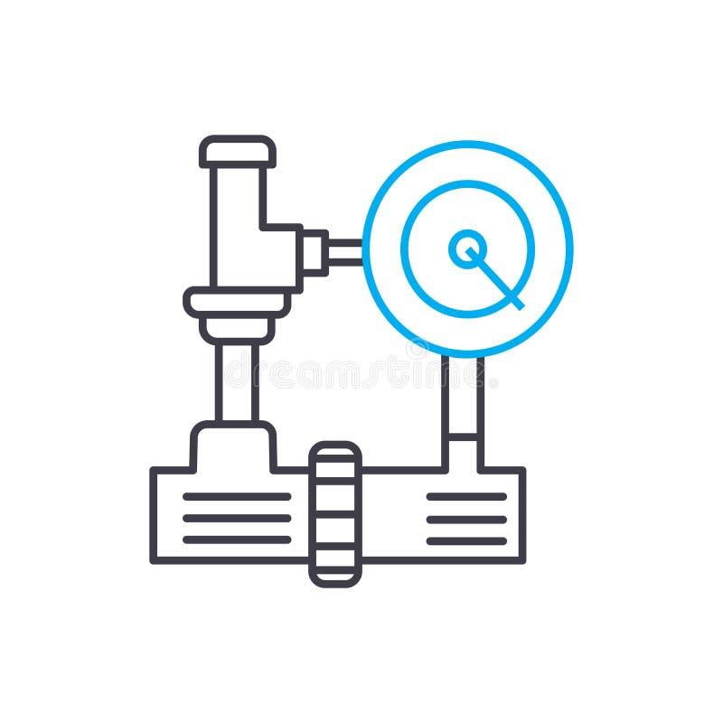 Lineair het pictogramconcept van het watervoorzienings industrieel systeem De lijn vectorteken van het watervoorzienings industri stock illustratie