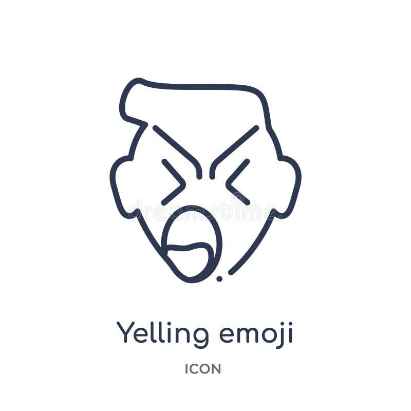 Lineair het schreeuwen emojipictogram van Emoji-overzichtsinzameling Dunne die lijn het schreeuwen emojivector op witte achtergro vector illustratie
