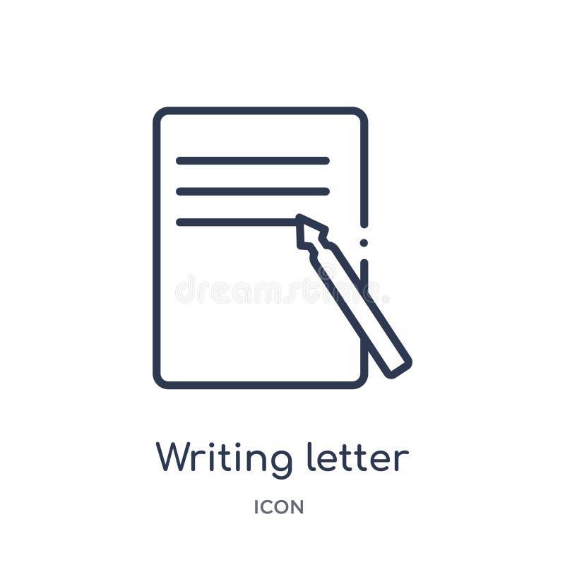 Lineair het schrijven brievenpictogram van Comunation-overzichtsinzameling Dunne die lijn het schrijven brievenvector op witte ac vector illustratie