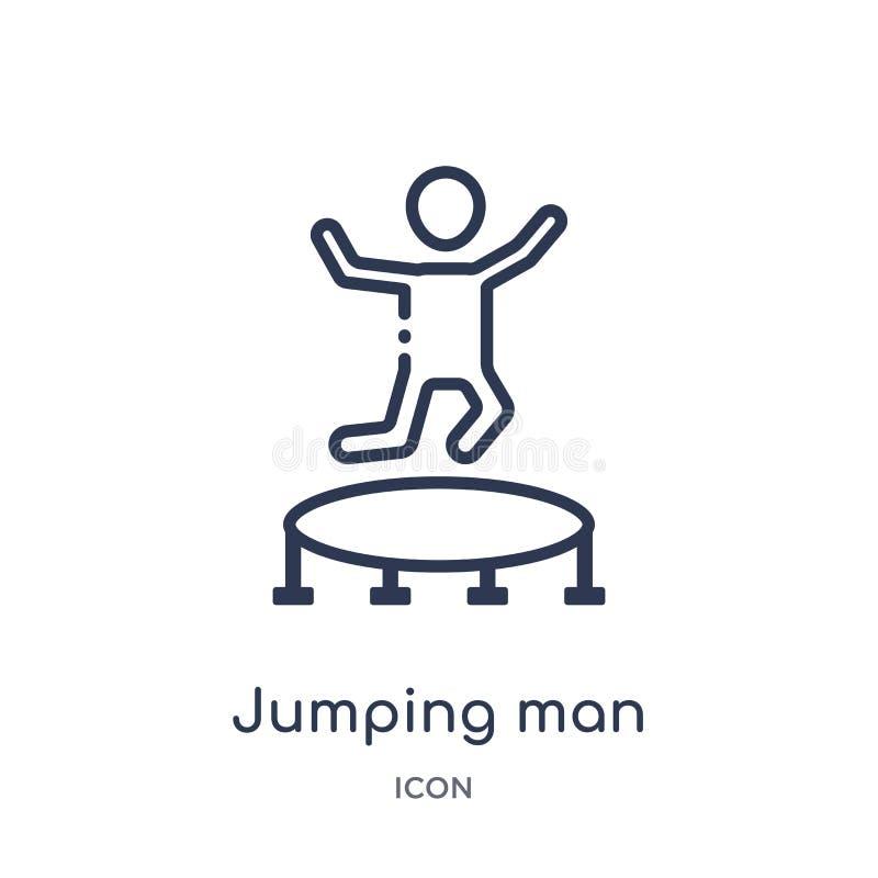 Lineair het springen mensenpictogram van de inzameling van het Circusoverzicht De dunne vector van de lijn springende die mens op stock illustratie