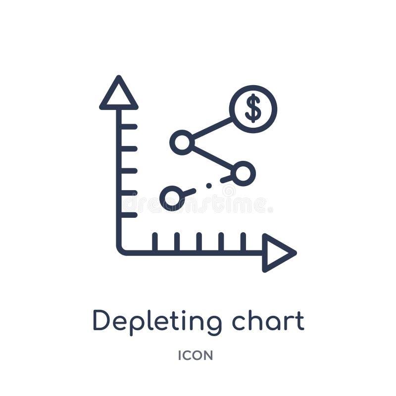 Lineair het uitputten grafiekpictogram van Bedrijfs en analyticsoverzichtsinzameling Dunne lijn die die grafiekvector uitputten o vector illustratie