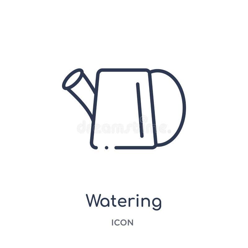 Lineair het water geven pictogram van Landbouw die en het tuinieren overzichtsinzameling bewerken Dunne lijn het water geven vect vector illustratie