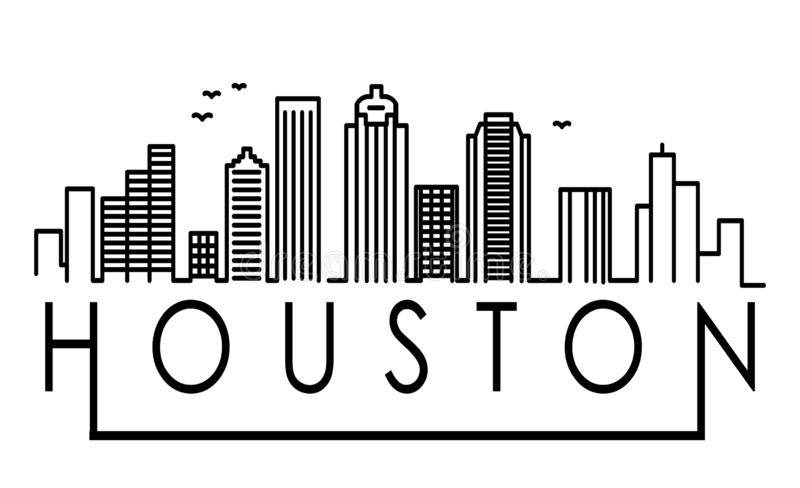 Lineair Houston City Silhouette met Typografisch Ontwerp vector illustratie