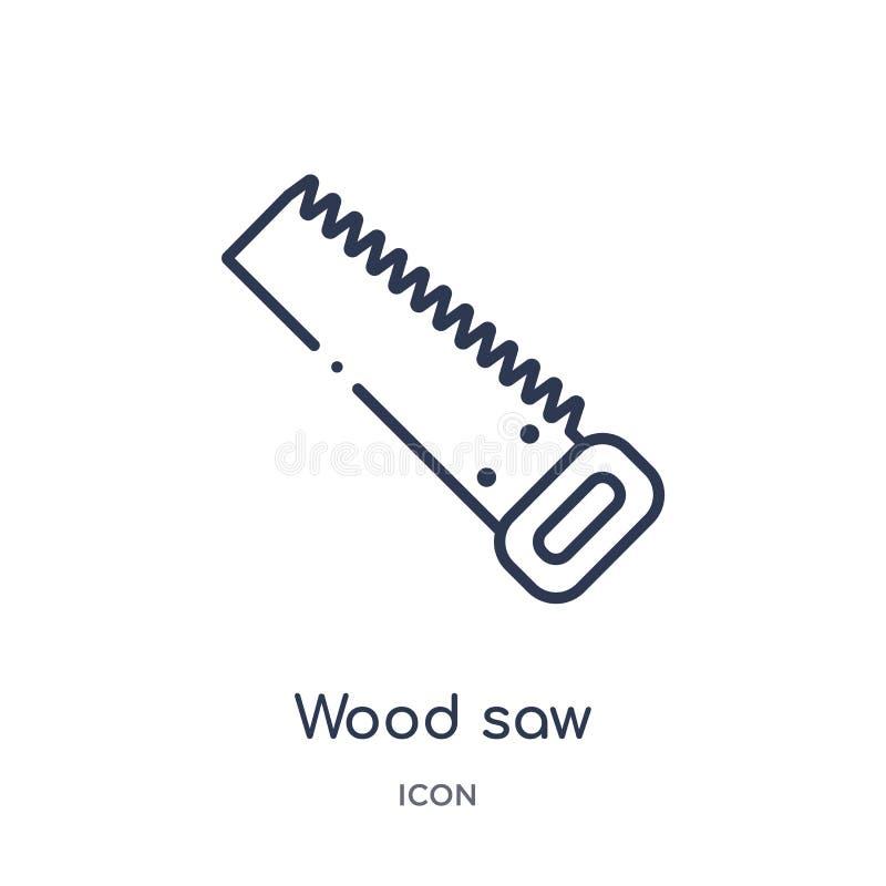 Lineair houten zaagpictogram van de inzameling van het Bouwoverzicht De dunne vector van de lijn houten die zaag op witte achterg vector illustratie