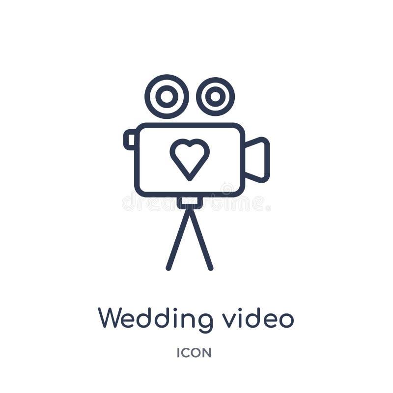 Lineair huwelijks videopictogram van het overzichtsinzameling van de Verjaardagspartij De dunne videodievector van het lijnhuweli royalty-vrije illustratie