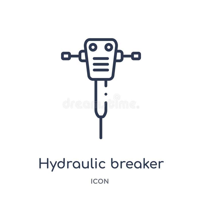 Lineair hydraulisch brekerpictogram van de inzameling van het Bouwoverzicht De dunne vector van de lijn hydraulische die breker o stock illustratie