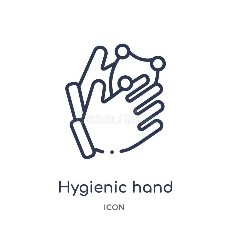 Lineair hygiënisch handpictogram van Handen en guesturesoverzichtsinzameling Het dunne pictogram van de lijn hygiënische hand dat stock illustratie