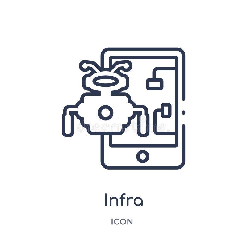 Lineair infra pictogram van Kunstmatige intellegence en de toekomstige inzameling van het technologieoverzicht Dunne lijn infra d stock illustratie