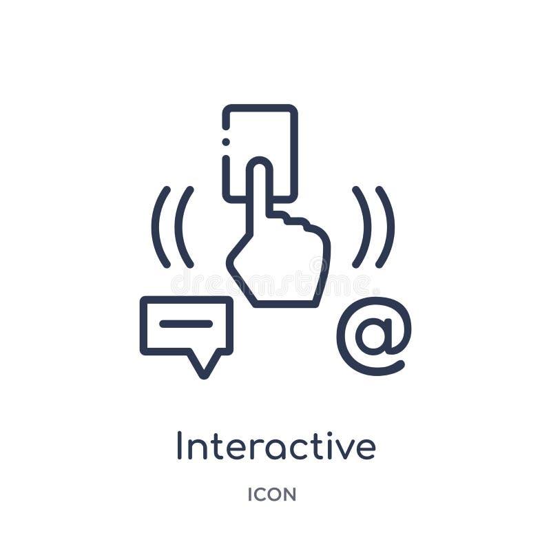Lineair interactief pictogram van Internet-veiligheid en de inzameling van het voorzien van een netwerkoverzicht Dun lijn interac stock illustratie